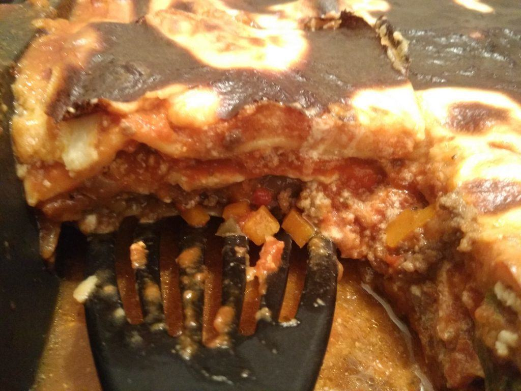 meat lasagna with ricotta filling