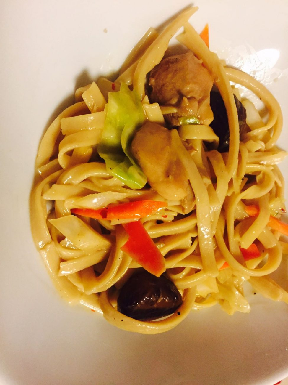 Brown Rice Noodles with Chicken, Coconut Milk and Chestnuts