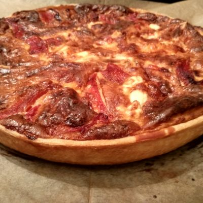 Roasted peppers goat cheese tart