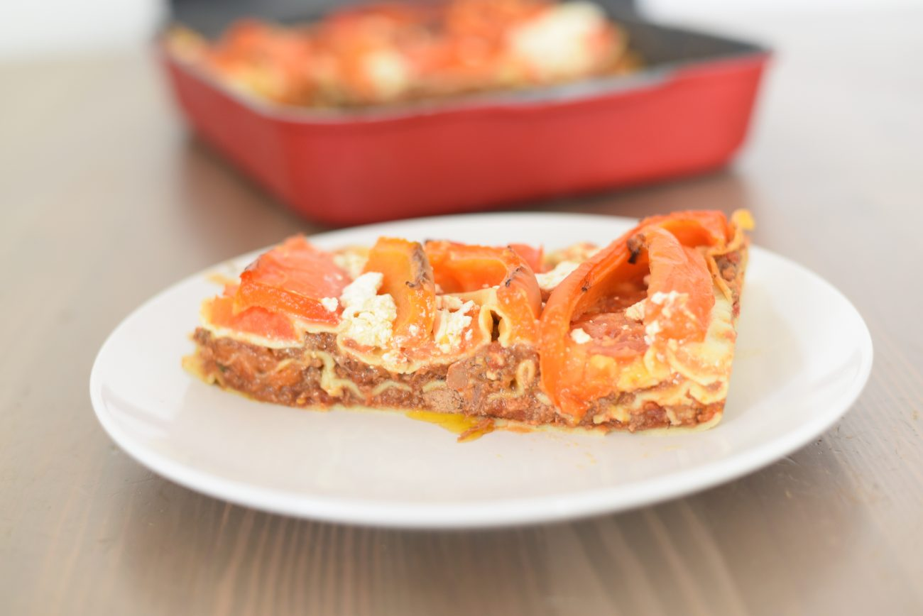 Rich Meat Ragu Lasagna with roasted peppers and Feta