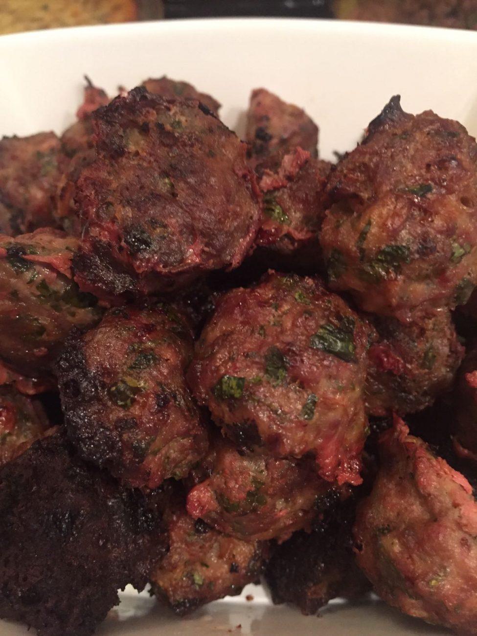 Spicy Oven Baked Beef and Chicken Mini Meatballs