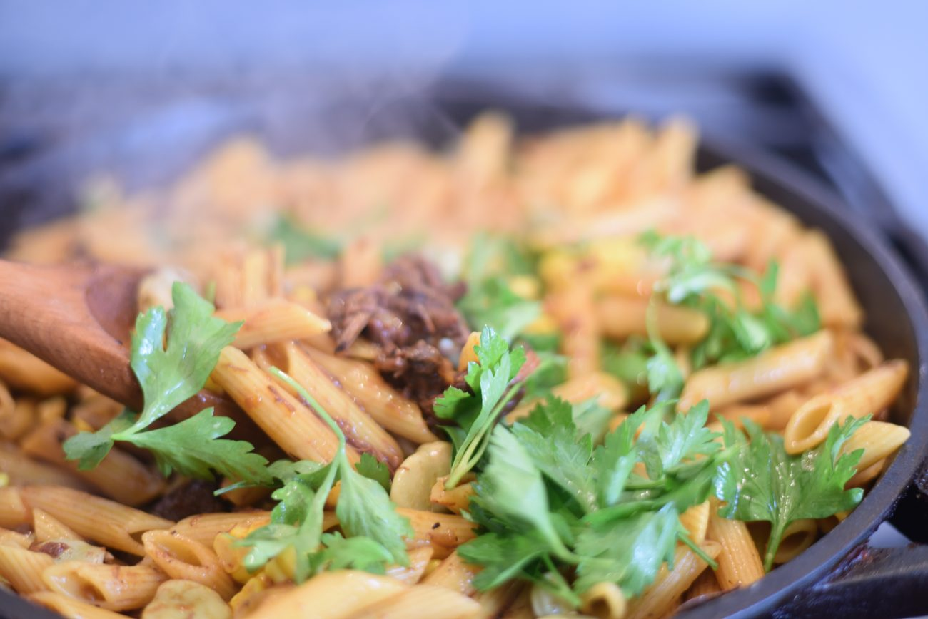 Penne Pasta with Oxtail and Fava Beans