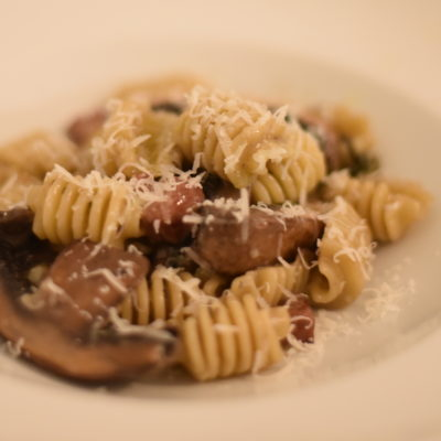 Radiatori Duck and Mushroom Pasta